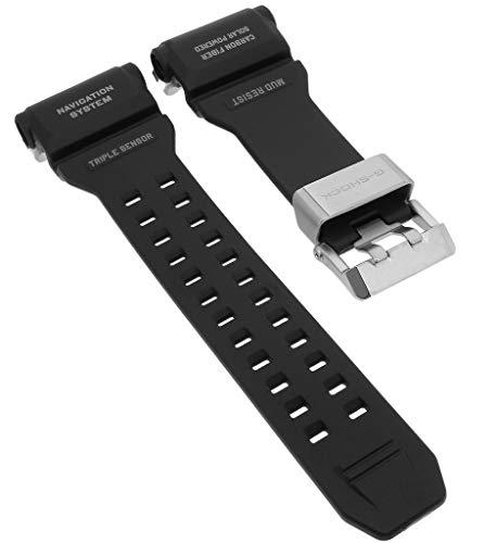 Casio - Correa de Repuesto para Reloj de Pulsera para Hombre (Resina y Carbono), Color Negro