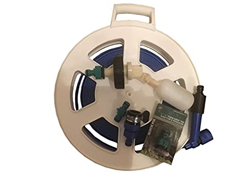 Suitable for Aquaroll Mains Water Adaptor Ball Valve Kit with Space Saving 10 mtr FLAT Food Grade Hose and Storage Reel by Care-avan & FREE POSTAGE