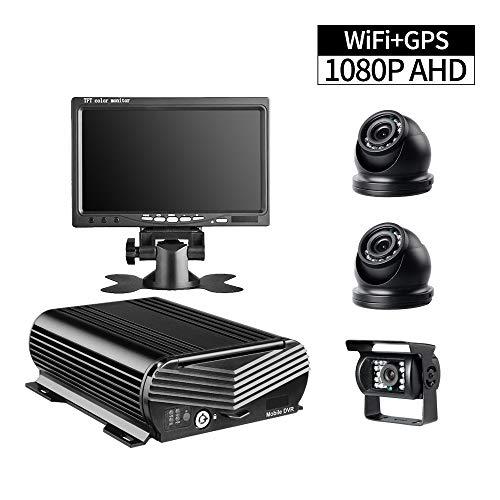 XFGBTJKYUT GISION Neuer GPS HDD-LKW-DVR-Recorder, 4CH WIFI AHD 1080P mobiler DVR mit 2 Stück Mini-Dome-Kameras 1 Stück Rückfahrkamera 7-Zoll-VGA-Monitor für Bus RVs-Überwachung