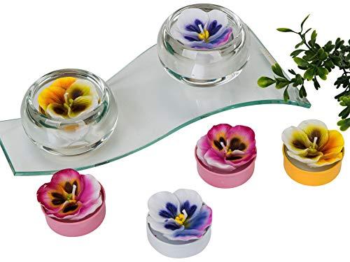 Lifestyle & More Wunderschöner Teelichtsatz Teelicht Kerzen in Form von Blumen blau rosa gelb im 6er Pack Höhe 4 cm -