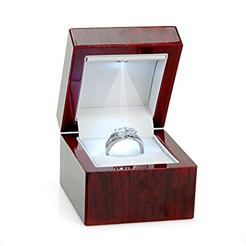 Cherry Wood Style Plastic Ring Box With Light (White Interior)