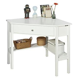 Promotion -20% ! SoBuy FWT31-W, White Corner Desk, Triangle Table Desk with Drawer, Home Office Desk Computer Workstation