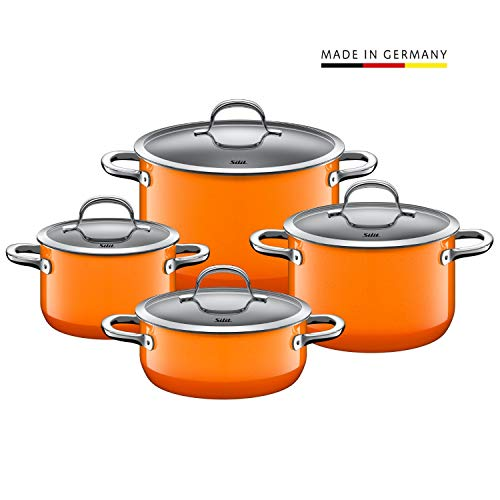 Silit Passion Orange Topfset 4-teilig, Töpfe mit Glasdeckel, Silargan Funktionskeramik, Induktionstöpfe, Topf Induktion, Auslaufmodell, orange