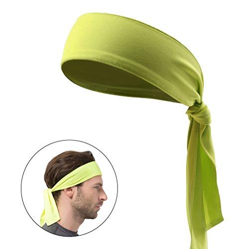 Frcolor Kopf Krawatte Sport Stirnband Krawatte Stirnband für Frauen und Männer Schweißband Kopf Krawatten Ideal für Laufen Ausarbeiten Tennis Karate Leichtathletik (Fluoreszier Gelb)