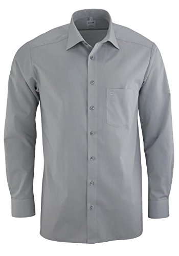 OLYMP Tendenz regular fit Hemd Langarm Chambray hellgrau, , Hellgrau