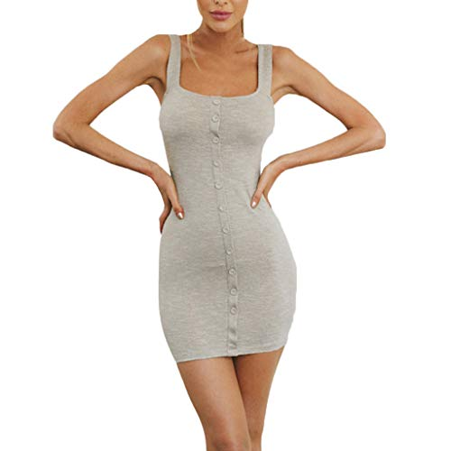 BHYDRY Frauen Solide Sexy Knöpfe Bodycon Sleeveless Party Club Sling Short Mini Dress(X-Large,Grau)