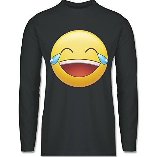 Shirtracer Statement Shirts - Tränen Lachen Emoji - Herren Langarmshirt Dunkelgrau