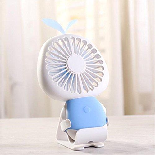 ELEGENCE-Z Stern Gras Mini Fan USB Lade LED Bunte Nachtlicht Kinder Mini Fan Hause Schlafsaal Im Freien Perfekte Begleiter,Blue