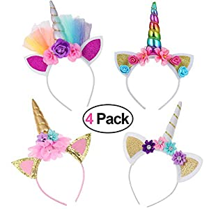 Diademas de Unicornio, 4 Pcs