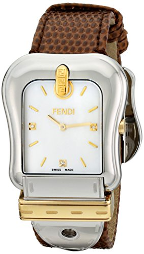 Fendi Women's Brown Lizard Leather Band Steel Case Swiss Quartz MOP Dial Analog Watch F382114521D1