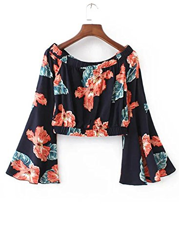 Azbro Women's off Shoulder Floral Printed Cropped Blouse Black