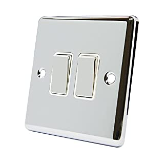 AET CPC2GSWIWC Polished Chrome Classical White Insert Metal Rocker Switch-10 Amp Double 2 Gang 2 Way Light Switch
