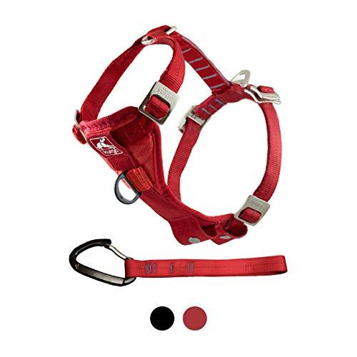 Kurgo 01406 Hundegeschirr für das Auto, Universelle Befestigung am Sicherheitsgurt durch Karabiner Clip, L, rot