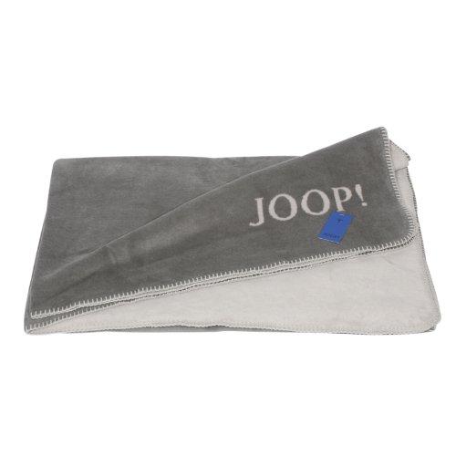 JOOP! Uni-Doubleface Kuscheldecke Wohndecke Tagesdecke 150/200 graphit-rauch