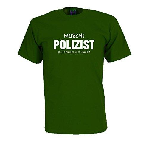 Muschi Polizist - witziges T-Shirt für Fasching und Karneval als Kostüm Ersatz oder lustige Verkleidung Party Gag Funshirt (FSF018) 5XL (Maskierte Party Kostüme)