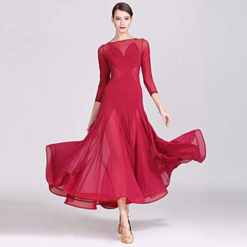 Z&X Modern Dance Kleid für Frauen Große Pendel Rock Ballsaal Kostüm Wettbewerb Nylon Ice Silk / 40D Brokat Mesh,M