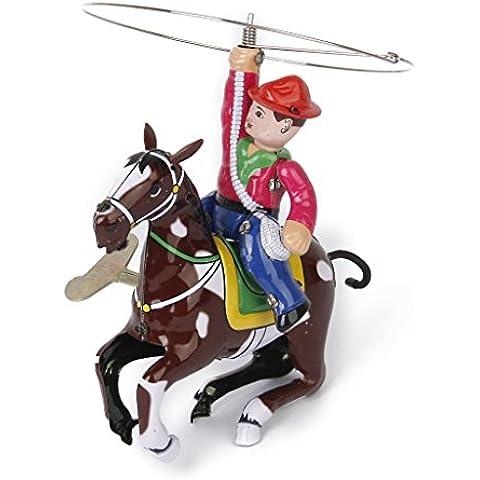 Vendemmia Vento Fino Giocattolo Di Latta Da Cowboy Con La Frusta E La Filatura Lazo