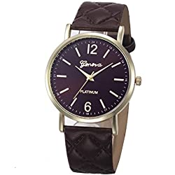WINWINTOM Roman Leather Band Analog Quartz Wrist Watch Coffee