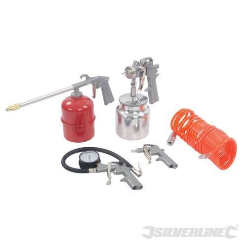 Air Tools & Zubehör Kit Kompressor 5pce, 5pce, vollständiges Set zum Sprühen, Aufpumpen und Reinigung. Das kit besteht aus Saugheber-ZuLeitung Sprühpistole mit 750 ml Tasse, 5 M gezwirbelten Luftschlauch, Reifenfüller, und Druckluftpistole. Die Luft verfügt über eine Tintenzufuhr mit Schlauch 13 mm (1.27 cm) BSP innen und aussen quick Connectors. Betriebsdruck 55psi für spray und Guns Entfetten. Luftverbrauch 3-6cfm. Kompressor 2-3hp erforderlich.