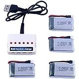 YouCute 1to6 cargador y 4 piezas 3.7V 780mAh baterías para SYMA X5C X5SC X5SW X5C-1 RC quadcopter piezas de recambio accesorios