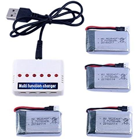 Hot Fun 1 a 6 cargador y 4 piezas de 3.7V 780mAh batería para Syma X5c X5SC X5SW X5c-1 RC Quadcopter Accesorios