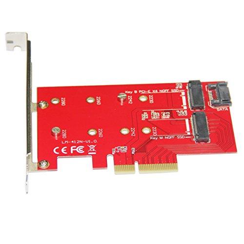 Express Desktop-modell (LM-412N-V1.0 Desktop PCI-E + Kabel + Schraubendreher SSD Adapter Riser -rot)
