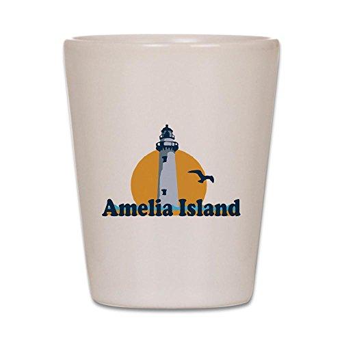CafePress Amelia Island - Leuchtturm-Design. Schnapsglas weiß - Amelia Island Lighthouse