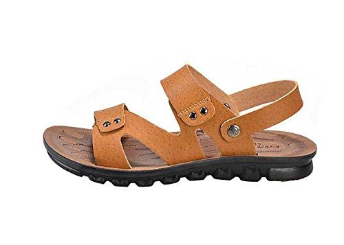 Gaorui Herren Leder Strand Sandalen Mikrofaser Outdoor Sandalen Pantoletten Gelb