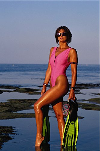 768035 Alex Brunette Pink Swimsuit And Sunglasses With Equipment A4 Photo Poster Print 10x8