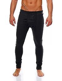 SGS - Pantalón interior largo térmico para invierno, en azul oscuro, blanco, gris claro, antracita