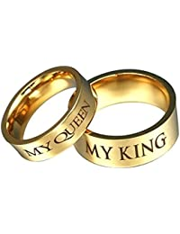 Bishilin 2 PCS Acero Inoxidable Anillo de Pareja con Grabado MY QUEEEN MY KING Alto Pulido