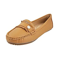 Mochi Women Tan Synthetic Loafers ( Size ) EURO39/UK6