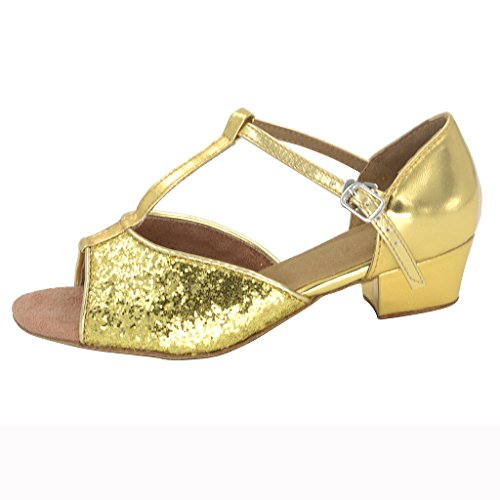 Jig Foo Sandales open-toe latine salsa Tango Chaussures de danse de chaussures pour filles avec talon 3cm Doré - Or