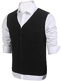 0567963544ebcb Burlady Herren West Strickweste V-Ausschnitt Knopfleiste Einfarbig  Wollweste für Männer