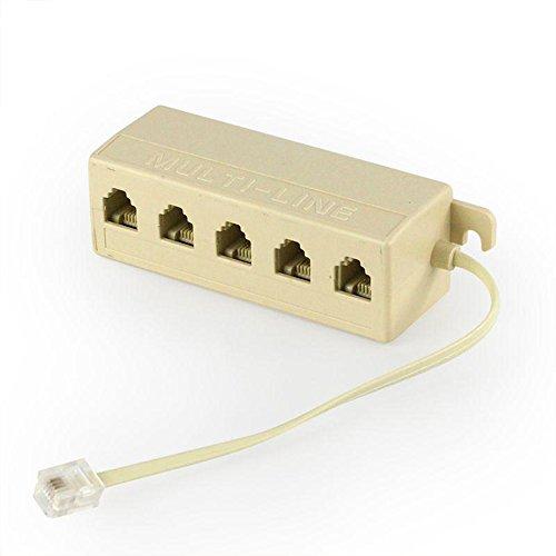 nacpy RJ11Telefon-Stecker männlich auf 5Female Plug Telefon Line Splitter Stecker Adapter Splitter Beige Telefon Line Splitter