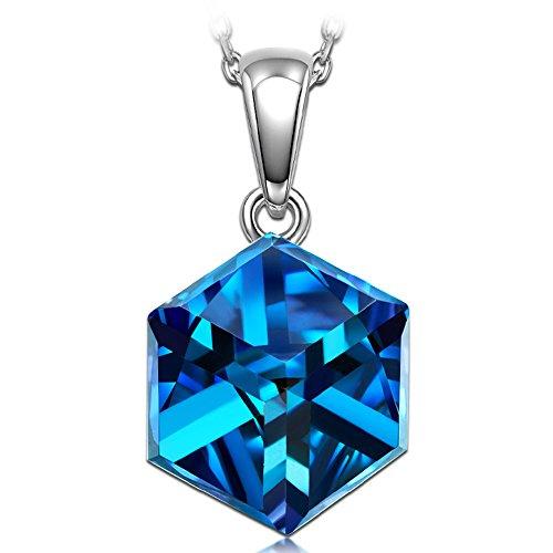 Alex Perry Weihnachtsgeschenk Damen Kette 925 Sterling Silber Kristall Swarovski Halskette mit Anhänger Bermuda Blau Schmuck zum Geburtstag Jubiläum Valentinstag Tochter Mädchen Sie -