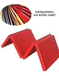 Niro-Sport GmbH - Colchoneta deportiva (plegable en 4 partes, 1800 x 610 x 45 mm, 2,1 kg, piel sintética), color rojo