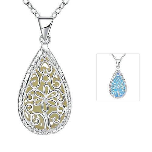 Anyeda Halskette Damen Modeschmuck,Versilbert Hypoallergen Tropfen-Blumen-Dunkelblaues Leuchtendes Kabel Größe 3.7X1.6Cm