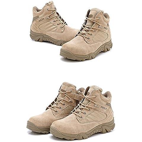 Hombre Militar de Tactical Deportes al aire libre de senderismo trabajo Combat Lace Up transpirable zapatos de cremallera en la parte superior Desert Piel Bajo Botas de Tan Caqui,
