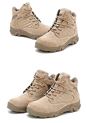 Männer Militär Armee Taktisch Außen Sports Camping Wandern Arbeit Kampf Spitze Herauf Atmungsaktiv Low Top Seite Zipper Wüste Leder Schuhe Stiefel DE Tan Khaki (EUR42=UK8=US9)
