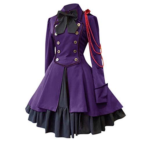 Französischen Adel Kostüm - LILIHOT Mode Frauen Halloween Vintage Gothic Court Square Kragen Patchwork Prinzessin Kleid Mittelalter Kostüm Luxuriös Mittelalterlichen Adels Palast Kleid