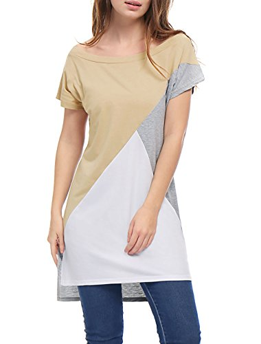 XL (US 18) , Beige : Allegra K Women's Color Block High Low Hem Short Sleeves Tunic Top