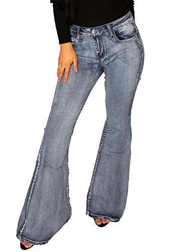 Damen Jeans-Schlaghosen - 60er/70er Stil mit Retro-Waschung - Blau (36)