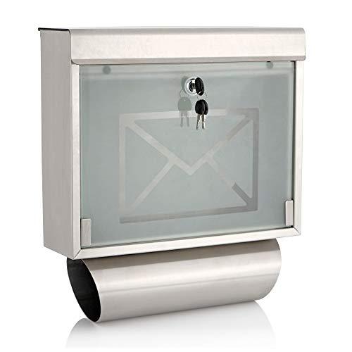 Zelsius Briefkasten mit Zeitungsrolle, (H) 44 x (B) 40 x (T) 11 cm, Edelstahl Wandbriefkasten mit Zeitungsfach, Design Mailbox, Postbox mit Glas Frontklappe, Postkasten