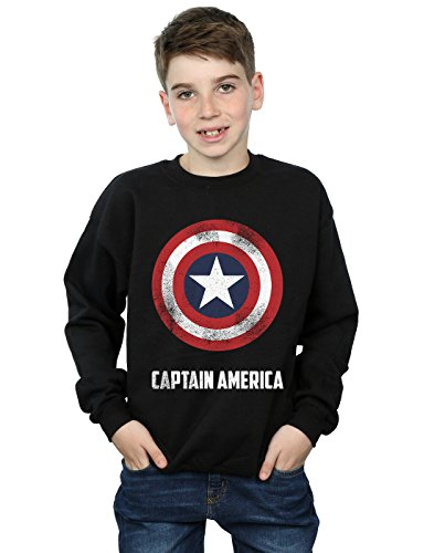 Marvel Jungen Captain America Shield Text Sweatshirt 12-13 Years Schwarz (America-shield Captain Kinder)