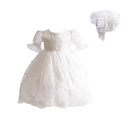 Cinda Baby Spitze Taufkleid Taufe Kleid und Mütze Elfenbein 62-68