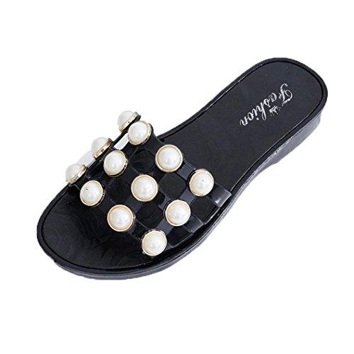 Hunpta Sommer Perlen Frauen Hausschuhe Sandalen Flip Flops Flats Strand Plattform Schuhe Schwarz