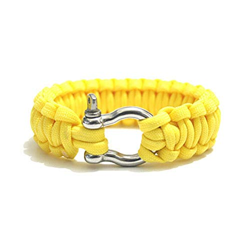 YIYIYYA Bracelet Woman Paracord Bracelet 550 Stainless Steel Buckle Survival Bracelet for Outdoor Hiking Camping Yellow