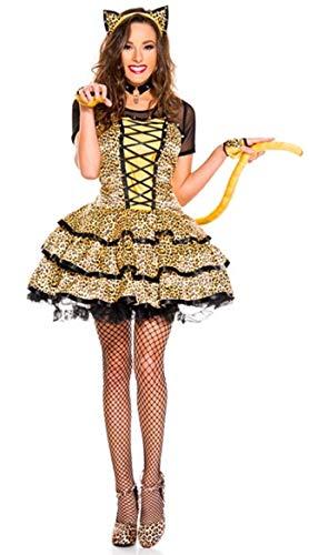 Halloween Kostüm,Leopard Katze Mädchen Kleid mit Schwanz Nachtclub DS Bühne Kostüm, 3341, XL