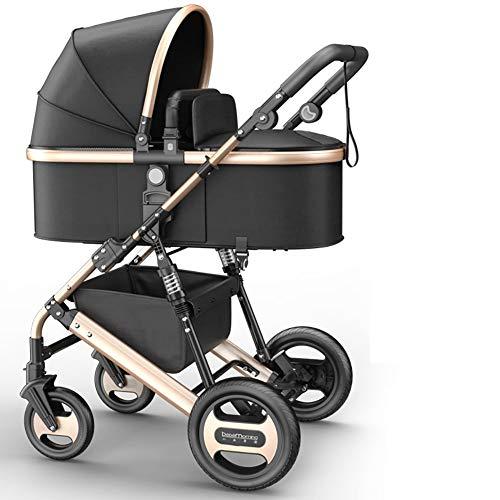 AMENZ Jogger Kinderwagen Buggy Babyschale Zusammenklappbar Liegefunktion Sonnenverdeck Große Räder Luftreifen Günstig Sonnensegel für Kinderwagen Buggy bis 20 kg - Schwarz